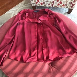 Burgundy/Wine Long Sleeve Silk Blouse